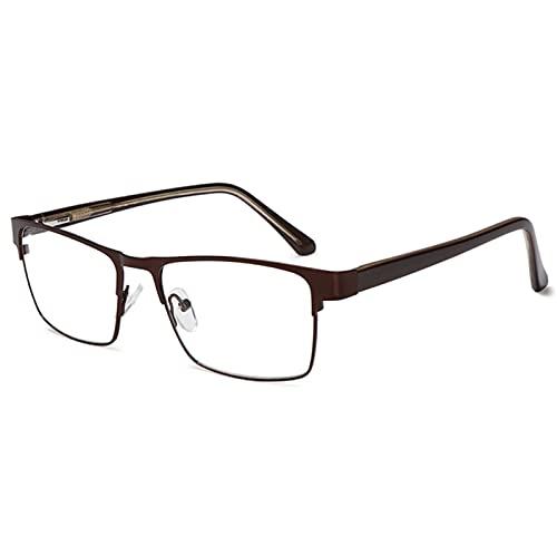Empresas de Lectura de Negocios para Mujeres Hombres Aleación de Titanio Anti-Blue Light Eyewear Progresivo EyeGasas de prescripción multifocal Progresivo,Marrón,250