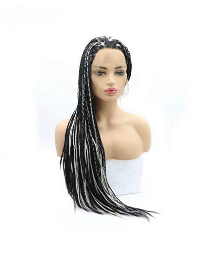 AQWESD Boîte de Perruques tressées en Amérique , Perruques Avant en Dentelle synthétique pour Les Femmes Festival Black Highlight White Blonde