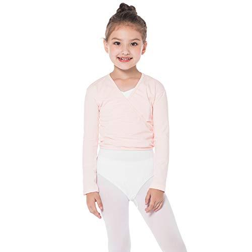 Bezioner Kinder Ballett Wickeljacke Gymnastik Tanz Ballettjacke Lange Ärmel für Mädchen Damen Rosa M