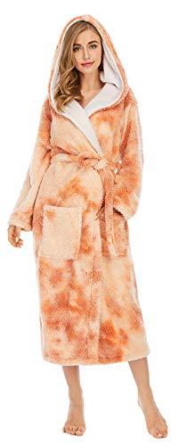 JYCDD Albornoz de invierno para mujer, de forro polar coral, grueso, largo, con capucha, para el hogar, color naranja, XXL