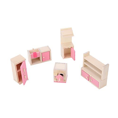 Drfeify Muebles de Juguete, simulación Realista Mini Juego de Muebles de Madera para casa de muñecas Accesorio 1:12(Cocina)