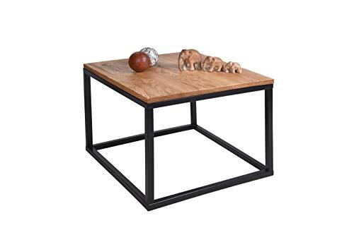 Gozos Malaga Couchtisch (Eichen, 60 x 60 cm) massivholz, Gestell Metall schwarz, Industriedesign, Massive Eichen geölt