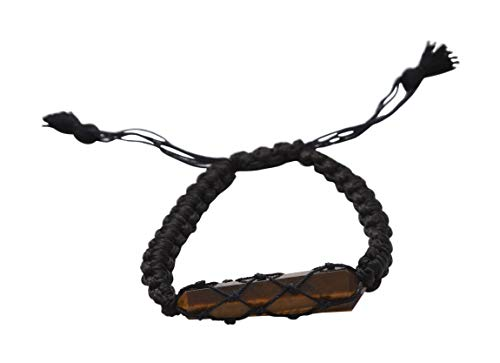 Blessfull Healing Reiki varita de doble punto piedra de ojo de tigre ajustable hilo negro pulsera joyería para Unisex