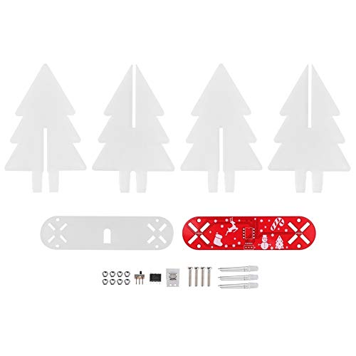 Toasses DIY 3‑Dimensional Christmas Tree Electronic L-E-D Circuit Kit for Home Desktop Decoration(Red)