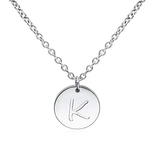 THREE KEYS JEWELRY D Initial Necklace Silver Girls Tiny Tag Circle Stainless Steel Charm Disk Daughter Engraved Necklace for Women