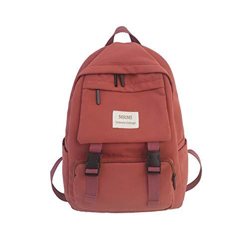 Backpack Bag Backpack For Women Solid Color School Bag For Teenage Girls Shoulder Travel Bag Multi Pocket Nylon Back Pack 29Cmx13Cmx40Cm Oranger