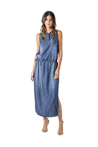 Standards & Practices Modern Women's Tencel Medium Wash Sleeveless Maxi Dress Size Small