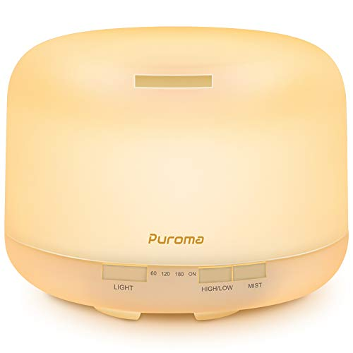 Puroma 500ml Essential Oil Diffuser Fragrance Diffuser Ultrasonic Aroma Humidifier with Waterless Auto Shut-Off and 4 Timers, Adjustable Cool Mist Aromatherapy Diffuser for Home Office (White)