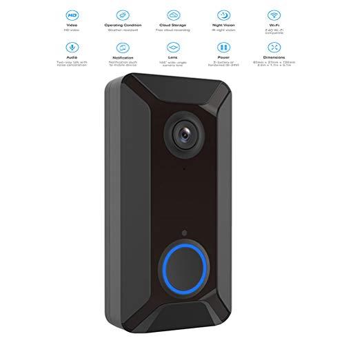 YOLANDE Campanello Video Intelligente Wireless 1080P HD, con Scheda di Memoria 16G, 2 chiamate, videocamera Campanello WiFi con Funzione di Visione Notturna, rilevamento del Movimento