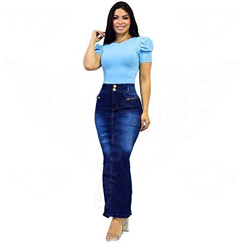 Saia Longa Jeans com elastano e abertura lateral - EWF Jeans - Azul Escuro (48)