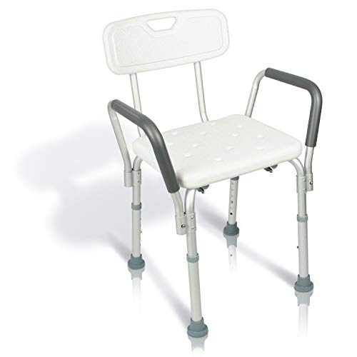 Vive Shower Chair with Back - Handicap Bathtub Bench with Padded Armrest for Disabled, Seniors, Elderly - Adjustable Medical Bath Stool Spa Seat with Handle Pads for Bariatrics - Non Slip Tub Safety