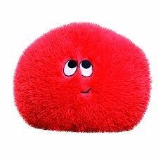 Flauschn Kuschel-Kissen Kinderflauschkissen mit Lustigem Gesicht Durchmesser 35 cm Super Kuschelweich (Rot)