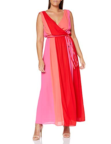 APART Fashion Damen Glamour: Lady ON FIRE Partykleid, Mehrfarbig (Koralle-Rot-Pink), 40