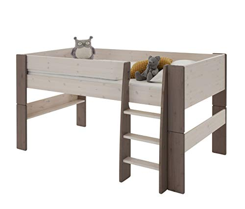 Steens For Kids Kinderbett, Hochbett, inkl. Lattenrost und Absturzsicherung, Liegefläche 90 x 200 cm, Kiefer massiv, weiß, grau