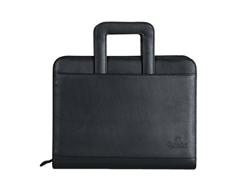 Executive Office Solutions Professional Business Padfolio Portfolio Briefcase Style Organizer Folder with Handles Notepad and 3 Ring Binder Synthetic Leather – Black (F044)