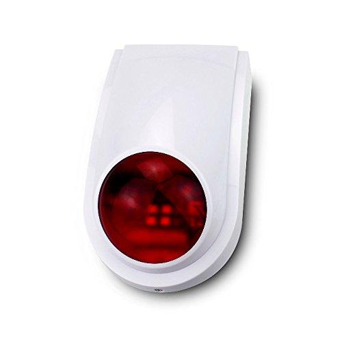 Sirena exterior inalámbrica luminosa para alarmas WiFi. Compatible con centrales de alarmas sin cuotas AZ019, AZ019 Plus, G90B-WS. No incluye emisor. Fácil de instalar 433Mhz exterior
