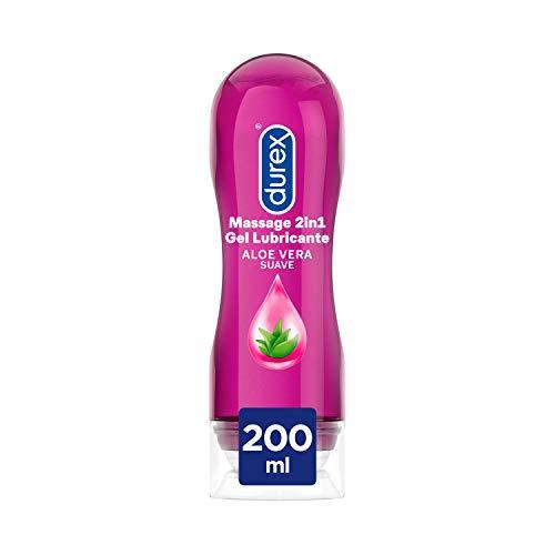 Durex Play Massage 2 en 1 Gel de Masaje & Lubricante Intimo con Aloe Vera, Transparente, 200 Mililitros