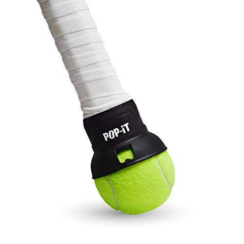 Pop-It Easy Tennis Ball Pick Up Accessory for Your Racquet (Black, Adult)