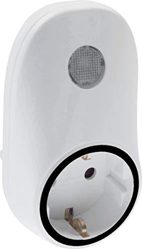 Meister 7421270 - Enchufe con Interruptor crepuscular automático (690 W, IP20, para Uso en Interiores, con Adaptador de Corriente, Ranura Adicional), Color Blanco