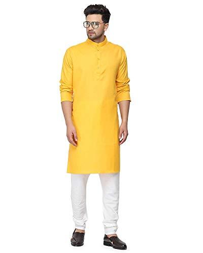 Enmozz® Haldi Yellow Cotton Plain Men's Ethnic Simple Kurta Only
