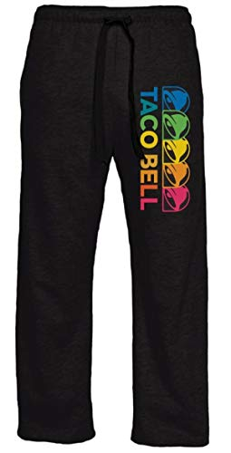 Ripple Junction Taco Bell Adult Unisex Rainbow Logo Light Weight Pocket Lounge Pants Large Black