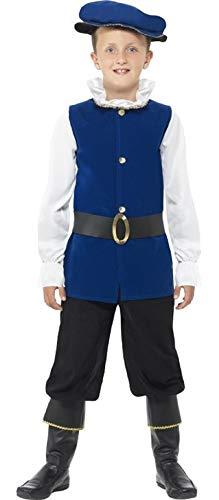 Fancy Me 4 Stück Jungen Blau Tudor Shakespeare historisch Buch Tag Woche Verkleidung Kleid Kostüm Outfit 4-12 Jahre - Blau, 7-9 Years