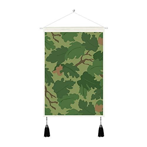 Tapiz para colgar en la pared de tela de lino – Us Mitchell Camo Corea Vietnam Era de algodón y lino con borlas para colgar en la pared del hogar, 35 x 50 cm