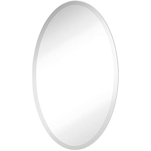 Large Simple Round Streamlined 1 Inch Beveled Oval Wall Mirror   Premium -