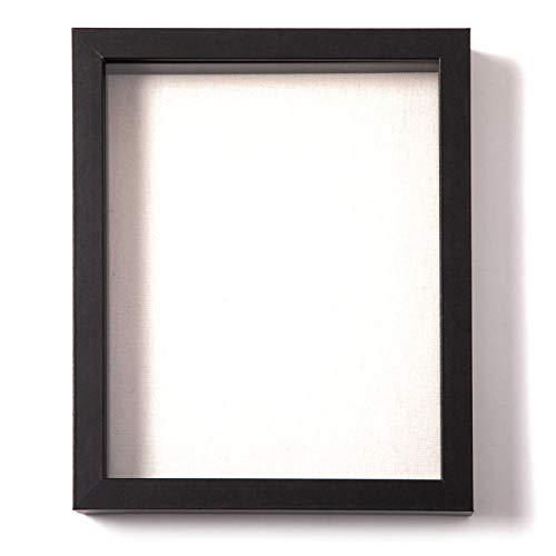 Muzilife Marco de fotos Deep Box con alfombrilla de lino 8 x 10, 1 unidad, profundidad interior de 2,5 cm, marco de fotos 3D con panel de vidrio para colgar o exhibir negro