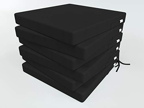ALOHA Stuhlauflage Stuhlkissen Sitzkissen für Küche, Gartenstuhl oder Esszimmerstuhl Stuhl Kissen für Stühle in Haus und Garten (Schwarz / 40x40x4cm / 6 Stück)