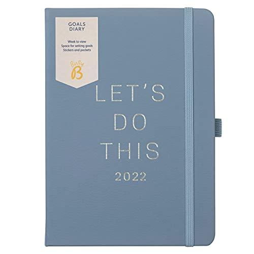 Busy B - Agenda degli obiettivi da gennaio a dicembre 2022 - Pianificatore degli obiettivi settimanale A5 blu con adesivi, tasche e note