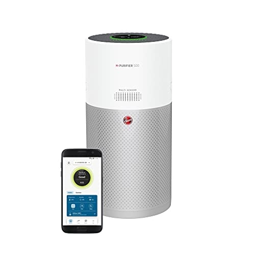 Hoover Air Purifier 500 with Diffuser, HHP50CA, Pollen Neutraliser Technology, H-Trifilter with HEPA Removes 99.97% of Allergens, Wi-Fi, Quiet Sleep mode, Carbon Monoxide Alert