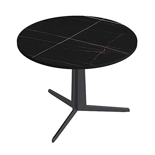 Tägliche Ausrüstung Marmorstruktur Moderner runder Akzent Beistelltisch - Laptop-Sofatisch mit weißer Marmorstrukturplatte Robuster schwarzer Metallrahmen Schickes Aussehen für Wohnzimmer Schlafzim