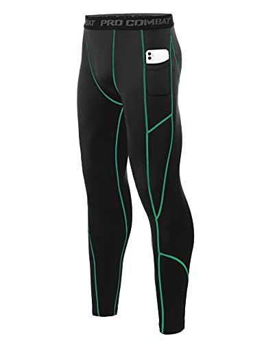 Wayleb Mallas Largas Hombre Leggings Hombre Mallas Running Pantalón Largo de Compresión Pantalones Deporte de Secado Rápido con 2 bolsillos para Fitness