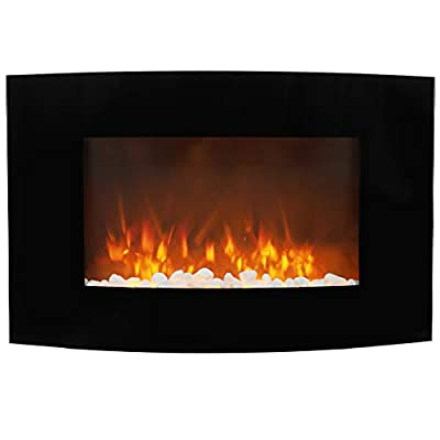 Electric Fireplace Curved Glass Screen Wall Mounted Electric Fire with Remote Control Adjustable Thermostat and Flame Effect 880x560x150mm