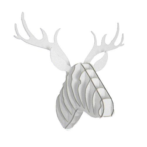 Shiraleah White Reindeer Head Hardboard Puzzle Wall Mount