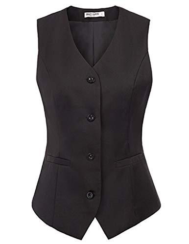 Women V-Neck Business Skinny 4 Button Suit Dressy Vests Waistcoat(S,Black)