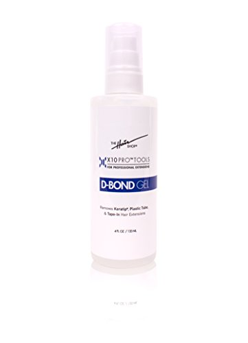 X10 Pro-Tools D Bond Gel Remover by The Hair Shop, Keratin Glue Fusion Pre Bonded U-Tip Adhesive Remover For Super Or Regular Keratip, Best for Keratin Glue, Tape-Ins and Shrinkies (4 oz Bottle)
