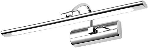 Diseño unico, Lámpara de espejo moderna Cuarto de baño Cromo, reflejo Baño de luz Decorado 4000K Lámpara de baño blanco neuña 4000K Lámpara de baño IP44 de acero inoxidable y lámpara de pared de baño