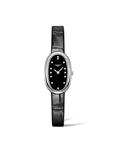 Longines Reloj Symphonette para mujer con esfera negra y diamantes L2.305.4.57.0