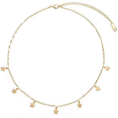 Gargantilla de aleación ajustable con colgante de estrella elegante de Nowbetter para bodas, fiestas, San Valentín, regalo para mujeres y adolescentes, dorado, 35+5CM