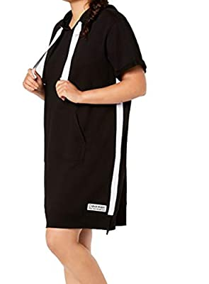 Calvin Klein Performance Womens Plus Hoodie Stripe Dress Black 2X