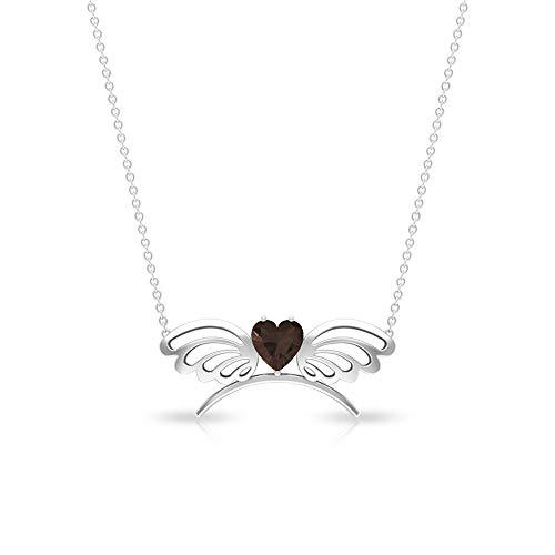 Collar con colgante de cuarzo somky con forma de corazón de 1,00 quilates, certificado SGL, piedra...