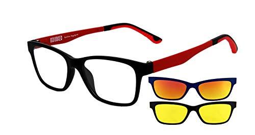 rainbow safety MagClip Montura de Gafas con Clip de Sol Polarizado Magnético RMCG (Rojo-2 Clips)