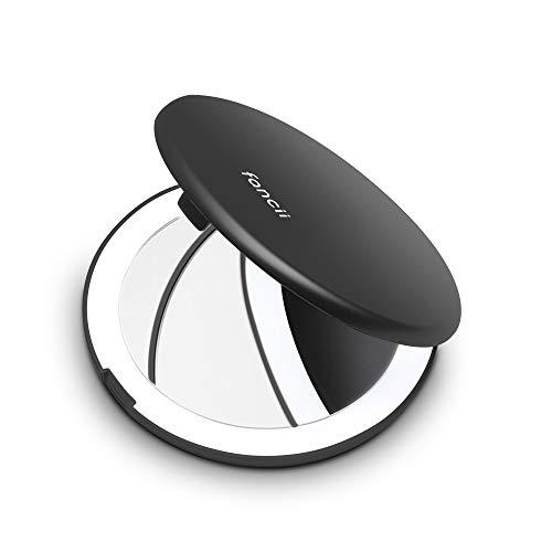 Fancii Kleiner Taschenspiegel mit LED Licht, 1X / 10X Vergrößerung - 102 mm Reise Make-up-Spiegel Kosmetikspiegel Zweiseitiger Beleuchtet für Unterwegs, Schwarz (Mini Lumi)