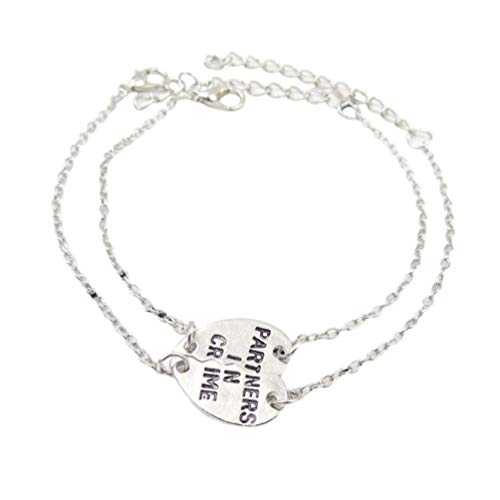 PRETYZOOM 2pcs Best Friend Bracelets Partners in Crime Soul Sister Bracelet Inspirational Jewelry Mantra Cuff Bangle Gift for Woman Sisters