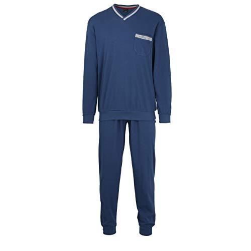 Götzburg Herren Pyjama, Langarm, Baumwolle, Interlock, blau, Uni, mit Bündchen 50