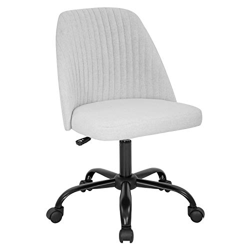 Home Office Chair Mid-Back Ergonomic Modern Upholstered Tufted Executive Accent Swivel Chair Adjustable Height Desk Chair (Grey)