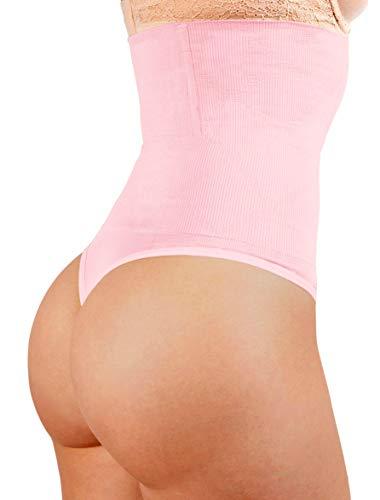 ShaperQueen 102 Best Womens Waist Cincher Body Shaper Trimmer Trainer Slimmer Girdle Faja Bodysuit Short Tummy Belly Weighloss Control Brief Corset Plus Size Underwear Shapewear Thong (L, Soft Pink)
