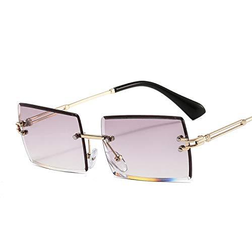 Gafas de Sol Sunglasses Nuevas Gafas De Sol Cuadradas Sin Montura para Mujer, Montura De Aleación A La Moda, Gafas De Sol Rectangulares con Degradado Vintage, Sombra Feme